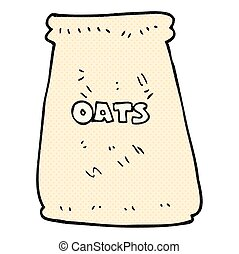 cartoon bag of oats - freehand drawn cartoon bag of oats