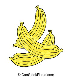 cartoon bananas - freehand drawn cartoon bananas