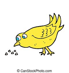 cartoon bird pecking seeds - freehand drawn cartoon bird...