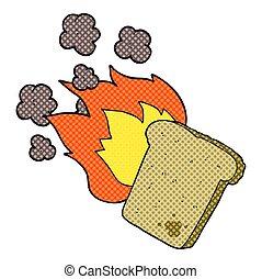 cartoon burnt toast - freehand drawn cartoon burnt toast