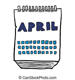 freehand drawn cartoon calendar showing month of april