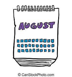freehand drawn cartoon calendar showing month of august