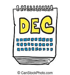 freehand drawn cartoon calendar showing month of december