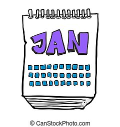 freehand drawn cartoon calendar showing month of january