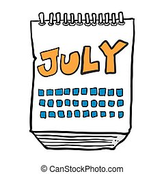 freehand drawn cartoon calendar showing month of july