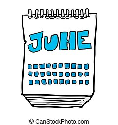 freehand drawn cartoon calendar showing month of june