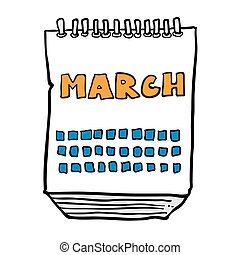 freehand drawn cartoon calendar showing month of march