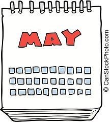 cartoon calendar showing month of may - freehand drawn...