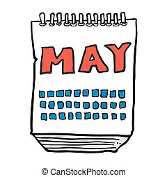 freehand drawn cartoon calendar showing month of may