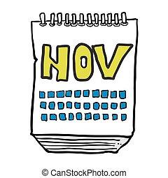 freehand drawn cartoon calendar showing month of november