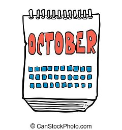 freehand drawn cartoon calendar showing month of october