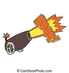 cartoon cannon shooting - freehand drawn cartoon cannon...