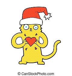 cartoon cat loving christmas
