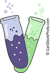 cartoon chemicals in test tubes