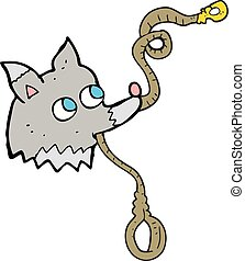 cartoon dog with leash