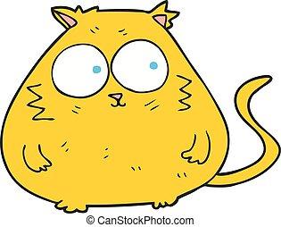 cartoon fat cat - freehand drawn cartoon fat cat