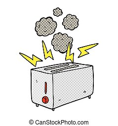 freehand drawn cartoon faulty toaster