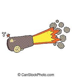 cartoon firing cannon - freehand drawn cartoon firing cannon