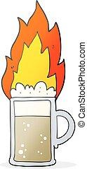 cartoon flaming tankard of beer