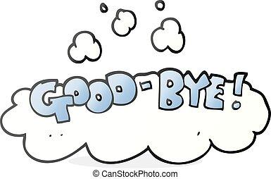 freehand drawn cartoon good-bye symbol