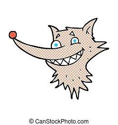 cartoon grinning wolf face