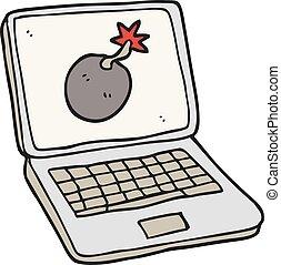 cartoon laptop computer with error screen