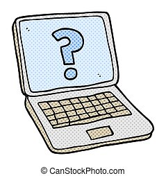cartoon laptop computer with question mark