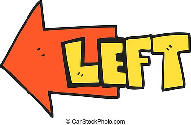 cartoon left symbol - freehand drawn cartoon left symbol