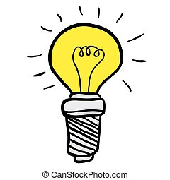 freehand drawn cartoon lightbulb