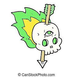 cartoon magic skull with arrow through brain
