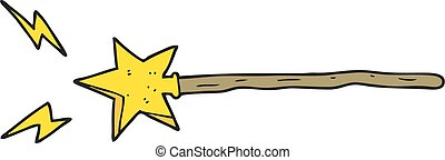cartoon magic wand - freehand drawn cartoon magic wand