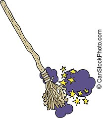 cartoon magical broom