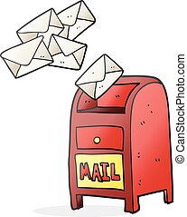 cartoon mail box - freehand drawn cartoon mail box
