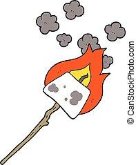 cartoon marshmallow on stick