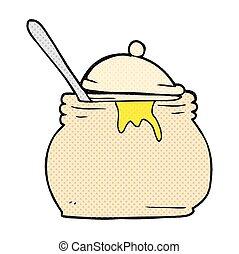 cartoon mustard pot - freehand drawn cartoon mustard pot