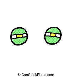 cartoon narrowed alien eyes