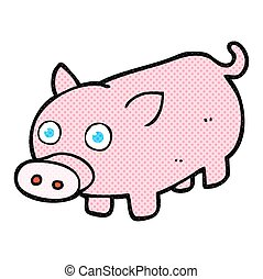 cartoon piglet - freehand drawn cartoon piglet