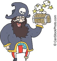 cartoon pirate captain with treasure chest