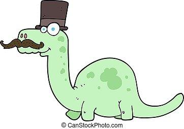cartoon posh dinosaur - freehand drawn cartoon posh dinosaur