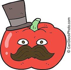 cartoon posh tomato - freehand drawn cartoon posh tomato