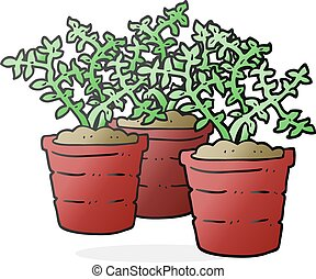 cartoon potted plants - freehand drawn cartoon potted plants