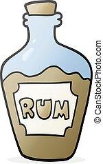 cartoon rum bottle - freehand drawn cartoon rum bottle