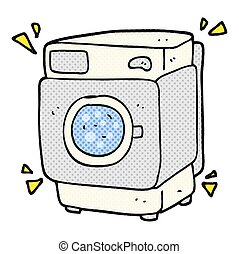 cartoon rumbling washing machine - freehand drawn cartoon...