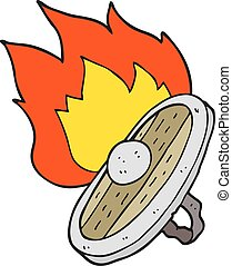 cartoon shield burning