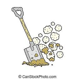 cartoon shovel in dirt