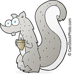 cartoon squirrel with nut