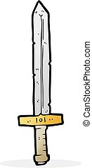 cartoon sword - freehand drawn cartoon sword