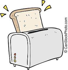 cartoon toaster - freehand drawn cartoon toaster