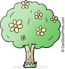 cartoon tree with flowers