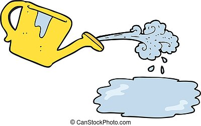 watering can pouring water illustration of the yellow